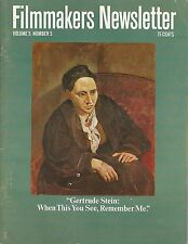 """March 1972 Filmmakers Newsletter~Gertrude Stein:When This You See, Remember Me"""""""