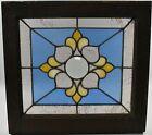 Antique Stained Glass Window Beveled Center Hammered Back Blue   Lt Rose Rippled