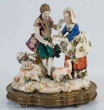 Antique Porcelain Victorian Figures Couple Music Box with Flowers, Doves & Lambs