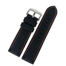 Black Silicone Blue/Yellow/Orange Line Stitching Watch Strap Band 20/22/24/26m