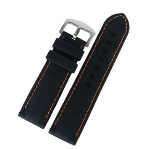 Black Silicone Blue/Yellow/Orange Line Stitching Watch Strap Band 20/22/24/26m