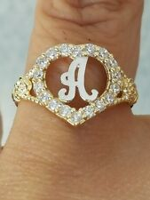 10k Yellow Gold Letter Initial A heart Ring S 7