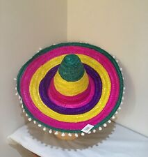 MEXICAN RAINBOW STRAW WITH LITTLE WHITE POMS SOMBRERO HAT SPANISH COSTUME