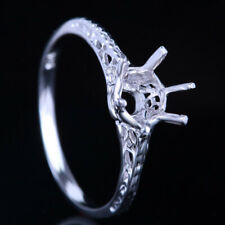 Round Engagement Wedding Semi-Mount Ring Vintage Antique 925 Sterling Silver 6Mm