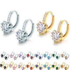 Fashion Women Heart Love Rhinestone Crystal Hoop Earrings Wedding Jewelry lots