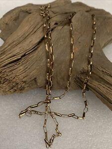 """Vintage H/M 9ct Gold Long Belcher Link Chain 28.5"""" Men's Ladies Necklace 4.7g"""