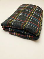 VINTAGE 60s 70s retro Large bright PLAID wool fabric Mid MOD Print 3 X 1.6 YD