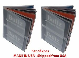 Set of 2 Heavy Duty 6 Pages Hipster Mens Wallet Inserts New MADE IN USA e4106