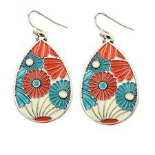 Enamel Drop Pear Shaped Earrings Nwot Silver Red Blue Flowers Nature