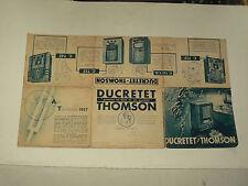 Prospectus TSF RADIO DUCDETET THOMSON  1937  Poste brochure  prospekt old paper