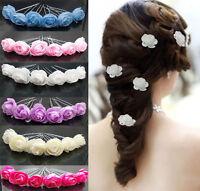6X Small Rose Flower Hair Pins Wedding Bridal Flowers Accessory Bridesmaids