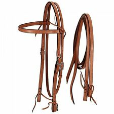 Medium Oil Leather Frontier Style Horse Size Bridle & Reins New Western Tack