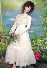 ANTIQUE Victorian Edwardian era BATISTE filet LACE summer dress WEDDING gown