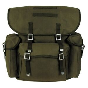MFH® BW German Army Vintage Look Outdoor Buschraft CANVAS Backpack - Green 30L
