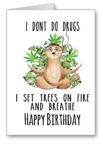 Marijuana Spliff Weed Birthday Card Don't Do Drugs Breathe Fire Cards 3 for 2