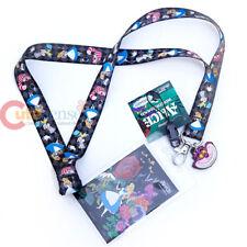 Disney Alice in Wonderland Lanyard KeyChain ID Pocket Alice Cheshire Charm