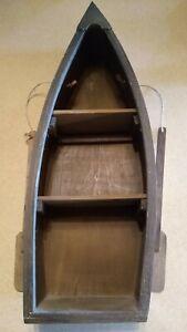 "Wooden Boat Wall Shelf 22"" Rowboat Nautical Decor"