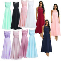 Womens Bridesmaid Dress Long Chiffon Lace Maxi Evening Dresses Formal Prom Gowns