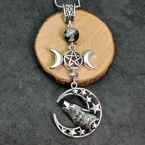 Silver Tone Wicca Howling At Crescent Moon Wolf Pendant Triple Moon Glass Beads