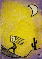 21012007 e9Art ACEO Outsider Folk Art Brut Painting Contemporary Original Naive