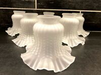 6 Vtg Ruffle Frosted Ribbed Light Lamp Ceiling Fan Chandelier Wall Sconce Shade