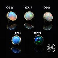 4mm G23 Titanium Fire Opal Dermal Anchor Tops Dermal Top Body Piercing Jewelry