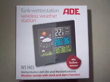 NEU OVP Funkwetterstation mit Uhr und Weckerfunktion  ADE WS 1403 Außensensor
