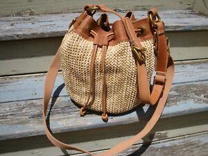 FOSSIL Maddox Bucket Drawstring Handbag Hippie Boho Hobo Woven Straw Leather Bag