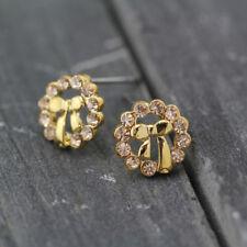 Girls Women Kids Gold Plated 9mm Cute Crystal Hoop Bowknot Stud Fashion Earrings