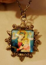 Lovely Leafy Swirled Blue Accented Madonna & Child Brasstone Cameo Necklace