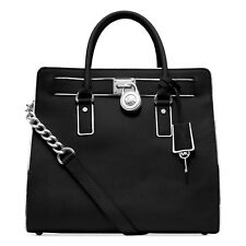 Michael Kors Hamilton Specchio NS Saffiano Leather Black Large Satchel Tote NWT