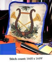 HARP & HORNS   CROSS STITCH PATTERN ONLY  -  YD  EYUE