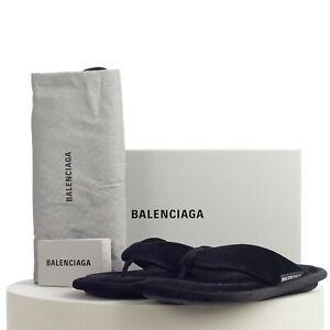 BALENCIAGA 475$ Soft Thong Sandals In Black Velvet With Logo Tag