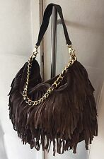 Brown Fringe Tassel Suede Leather Adrienne Vittadini Slouch Chain Bag Large Boho