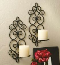 Pair Of Black Iron Scroll Wall Mount Artisanal Pillar Candle Holder Sconce