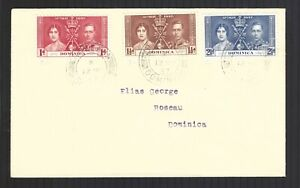 Dominica GVI Coronation 1937 First Day Cover sg96 sg98 Fine Used