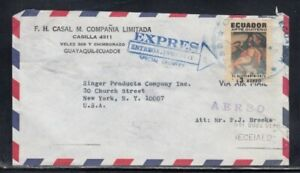 ECUADOR Commercial Cover Guayaquil to New York City 28-9-1971 Cancel