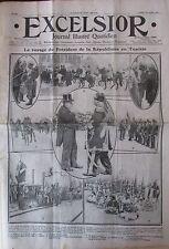 TUNISIE BIZERTE VOYAGE PRESIDENT FALLIERE BEY DE TUNIS  EXCELSIOR 24 AVRIL 1911