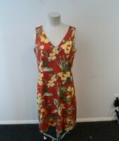 Tommy Bahama Dress 6 Stretch Silk Orange Floral Sleeveless Tropical Palm