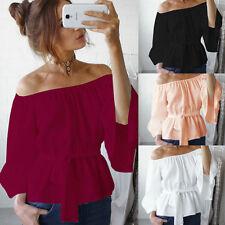 Women's Ladies Casual Summer Long Sleeve Shirt Loose Blouse Tops T-Shirt Fashion