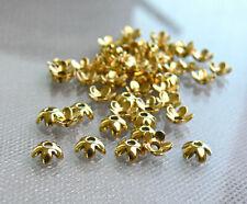 Antiqued Golden Flower Cap Tibetan Style 6mm 50 Pcs Metal Beads