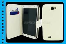 WHITE LUXURY WALLET LEATHER FLIP CASE COVER FOR SAMSUNG GALAXY NOTE 2 GT-N7100