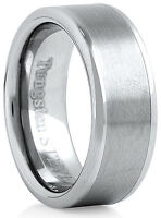 Men's 8mm Wide Tungsten Carbide Band Comfort Fit Ring Brushed Center - TCR034