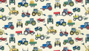 Makower Fabric tractors village life farm Tractors Cream -100% cotton half metre