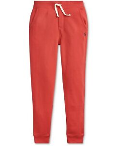 New Polo Ralph Lauren Big Boys Fleece Jogger Pants Size M (10-12) Color Red NWT