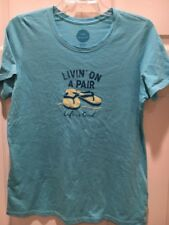 Womens LIFE IS GOOD Livin' On a Pair Flip Flops S/S Tee Shirt on Surf Blue NWOT