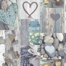 Arthouse Rustic Heart Natural Collage Wallpaper 669600