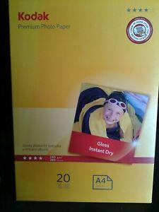 KODAK Premium Photo Paper Gloss Instant Dry 20 x A4 sheets sealed pack