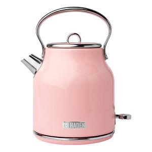 Haden Heritage 1.7 Liter Stainless Steel Body Retro Electric Tea Kettle, Pink
