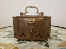 Vintage Brass Metal Trinket Storage Box Handle Perforated Octagon Red Felt Lined
